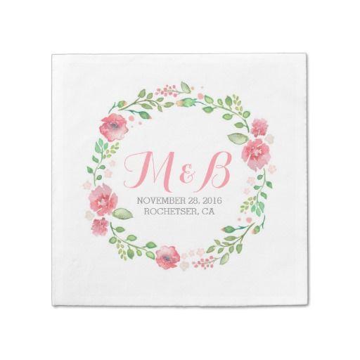 Elegant Watercolor Flowers Wreath Wedding