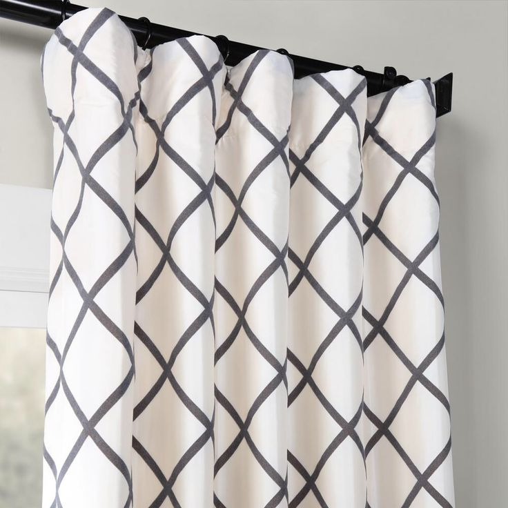 Exclusive Fabrics & Furnishings Pavillion Pearl White Flocked Faux Silk Curtain – 50 in. W x 84 in. L