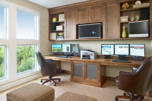 Astonishing Beach Style Home Office Design with Mounted Wall Monitor Stand and Square Windows in Modern Office Decorating Ideas for Men Inspiring Small Home Office Ideas For Men