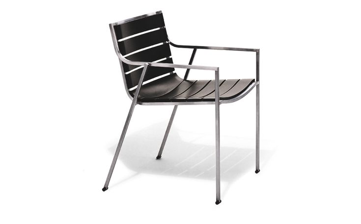 SB02 Chair with armrest on polyurethane slats black colour