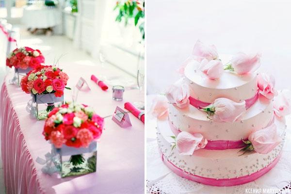 свадебный торт розовый с белым  #wedding #cake