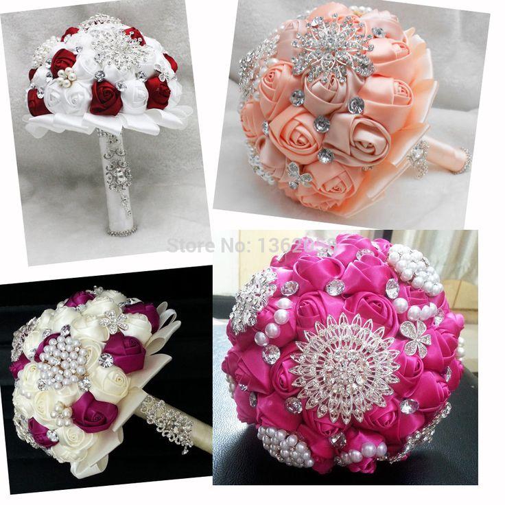 Роскошные бежевый свадебный букет невесты с ручной работы роуз жемчуг и алмазы невесты с цветами в руках высокое качество бесплатная доставка(China (Mainland))