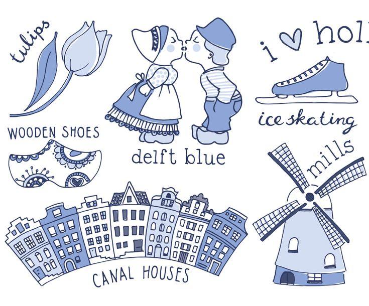 #sneakpreview #detail #illustration #illustratie #graphicdesign #handlettering #delftblue #delftsblauw #Holland #Delft #woodenshoes #iceskating #canalhouses #grachtenpandjes #mills #molens #tulips #tulpen #I❤️Holland