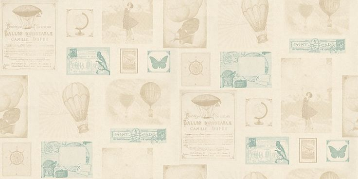 Travel (TDM6042 11 62) - Caselio Wallpapers - Various traditional postcards and stamps with hot air balloons and globes in a leather effect shown in beige and teal. Other colourways available. Please request a sample for true colour match. Vinyl