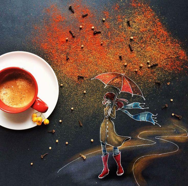Осенние рисованные картинки с добрым утром