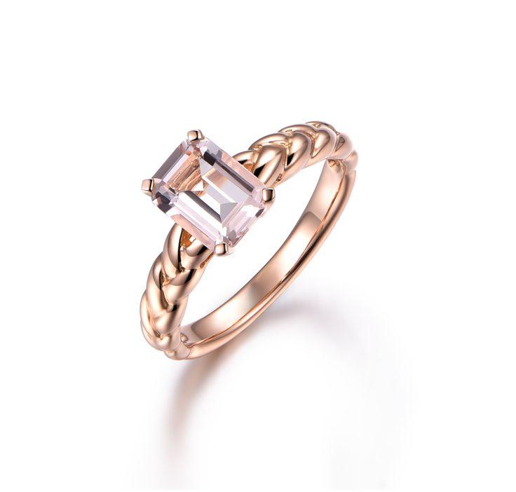 Angara Classic Solitaire Princess Black Diamond Ring(5.5mm) in 14k Rose Gold FdhsQ0