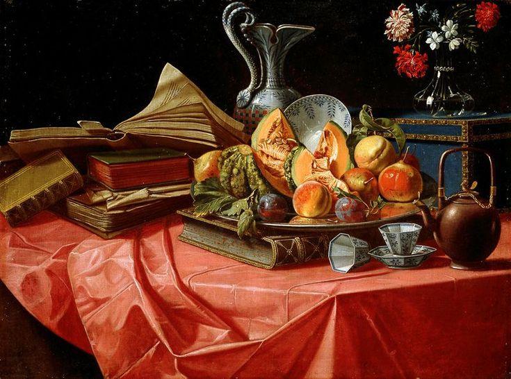 Munari, Cristoforo - Libri, porcellane cinesi, vassoio di frutta, bauletto, vasetto di fiori e teiera su tavolo coperto da tovaglia rossa - Bodegón - Wikipedia, la enciclopedia libre