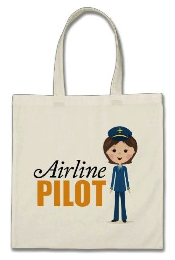"Female airline pilot cartoon girl in uniform tote bag. Cute and fun tote bag featuring a happy a female airline pilot cartoon girl wearing a blue uniform and a hat with a yellow airplane symbol. Black and orange text ""Airline pilot"". For custom requests or help with customizing please use the store contact link above."