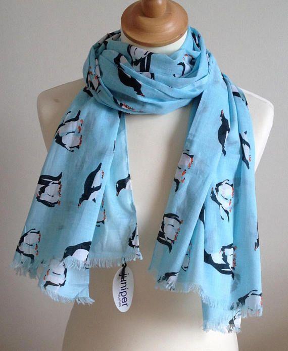 Penguin scarf  women's penguin print scarf  penguin wrap