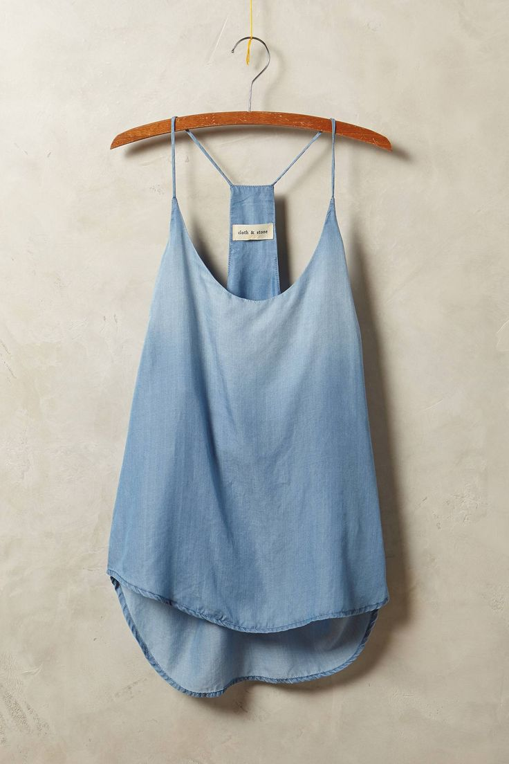 Chambray Racerback Tank - I like this easy summery take on Chambray, it looks soft and perfectly drapey, don't like the spagetti straps