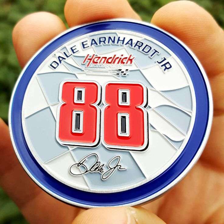 High quality Dale Jr. NASCAR Gifts, NASCAR Collectibles, NASCAR Coins Poker Card Guard perfect as a golf ball marker, card guard, trading and collecting.
