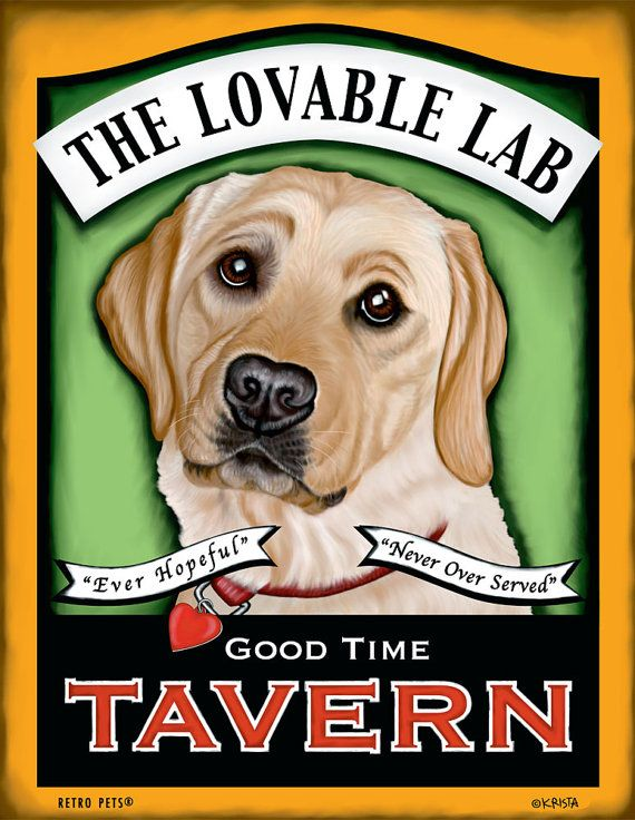 Yellow Lab Art  Lovable Lab  Good Time Tavern  by RetroPetsGallery, $20.00