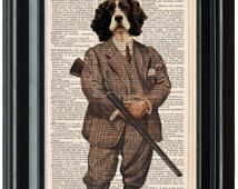 ENGLISH SPANIEL Art PRINT, Springer Spaniel Art, Spaniel Art Print, Dog Prints, Cute Spaniel Print, Cool Spaniel Print, Gun Dog Print