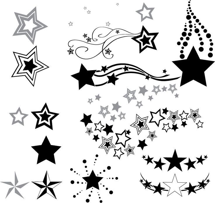 Outline Star And Moon Tattoo Design | Fresh 2017 Tattoos Ideas