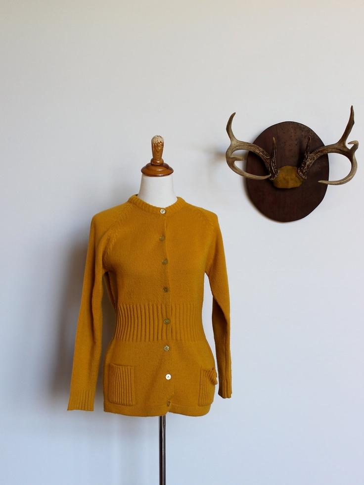 Cardigan Sweater in Mustard Yellow Small. $29.00, via Etsy. (Best worn near antlers.)