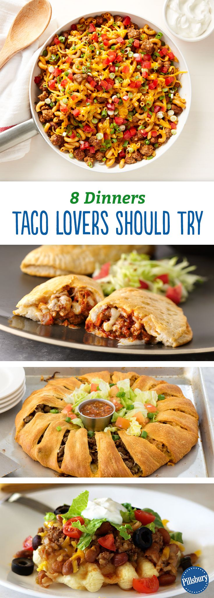 8 Dinners Taco Lovers Should Try: Obsessed with tacos? Then these recipes are for you! From casseroles to crescent rings, we have a dinner for every taco fan.