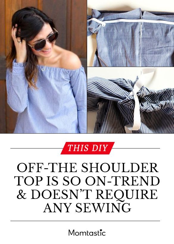 Here's an easy way to make a DIY off-the-shoulder top in less than 30 minutes without a needle and thread.