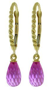 14k Solid Gold Rope Leverback Earrings with Pink Topaz Galaxy Gold Products Inc.. $176.93