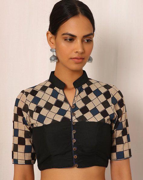Buy Multicoloured Indie Picks Kalamkari Block Print Cotton Blouse