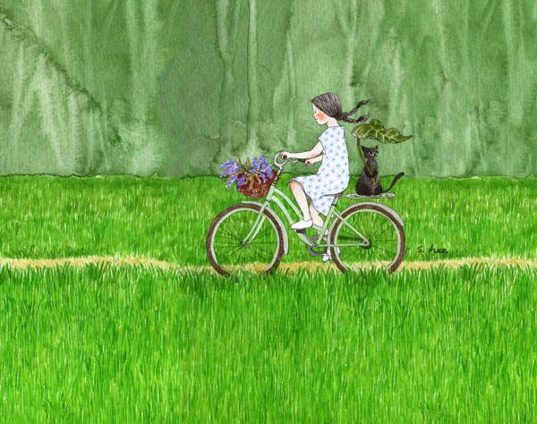"""봄에 심었던 벼들은 쑥쑥 자라 초록물결을 이루었습니다. 빙 둘러 눈에 보이는 모든 것이 짙푸른 옷을 입었습니다. 아,, 나는 이 여름의 초록을 얼마나 사랑했는지...... 자전거를 타고 고요한 논둑을 가로지르며... ...초록 공기속으로... """"따르릉~~따르릉~~"""" 벨을 울려보았습니다......"""