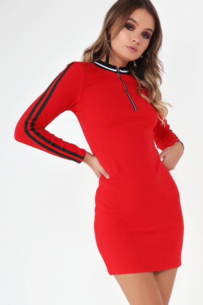 Abaigael Red Side Stripe Dress
