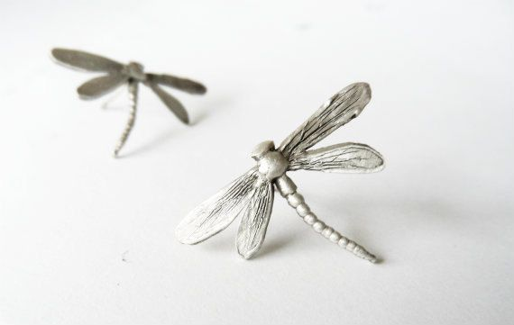 Dragonfly earrings Sterling silver studs  Nature inspired by CyKLu