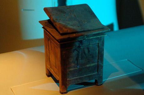 The key to Hatshepsut's identity was discovered in this wooden box, originally unearthed in a separate tomb in 1881.    The box is inscribed with Hatshepsut's name and contains the mummified organs of the pharaoh queen.