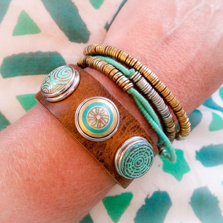 Noosa Amsterdam Chunks - Waikiki, Maui & Yin Yang featuring wrap Amulet Bracelet in Turquoise.  Available at www.seasonsemporum.com