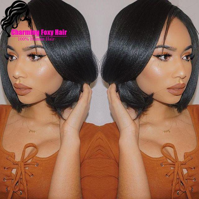 Protective style:  weave and/or wig  | korte bob pruiken voor zwarte vrouwen lichte yaki rechte lace front pruiken bob peruaanse maagdelijke menselijk haar volledige kant pruiken bob kant deel