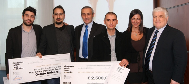 "The three winners Marco Forbicioni with Matteo Memmi (""creativity"" section) and Enrico Ippoliti (""feasibility"" section)"