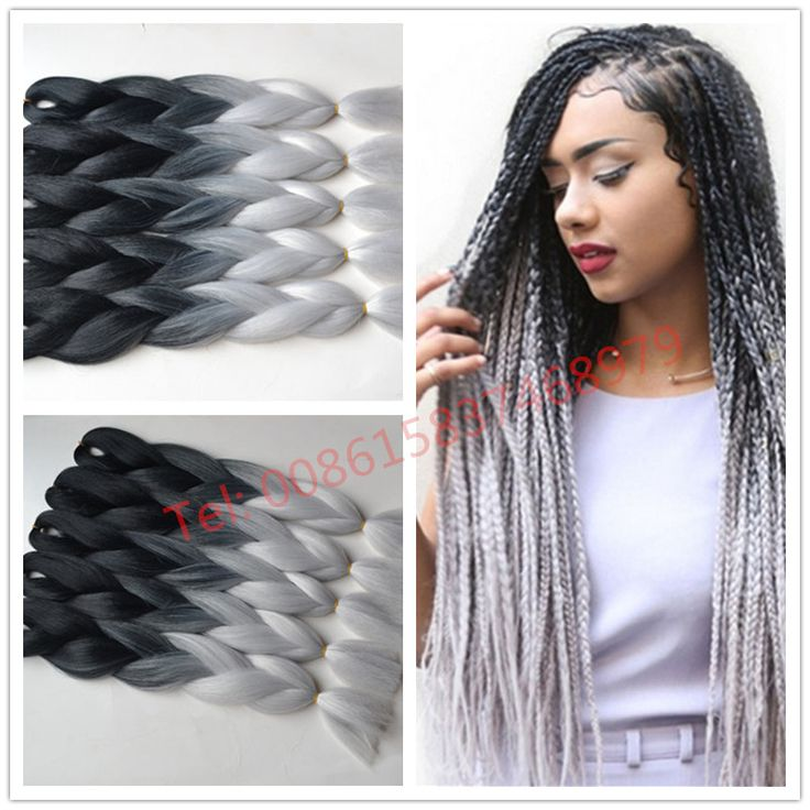 Free shipping ombre Kanekalon braiding hair two toned jumbo braids synthetic hair extension Black ombre silver Gray     #http://www.jennisonbeautysupply.com/  #<script     http://www.jennisonbeautysupply.com/products/free-shipping-ombre-kanekalon-braiding-hair-two-toned-jumbo-braids-synthetic-hair-extension-black-ombre-silver-gray/,     	      Kanekalon  Jumbo  Braid 	            Material: 100% Synthetic Hair 	            Color:   Black+silver Gray 	            Weight:   100g/pc 	…