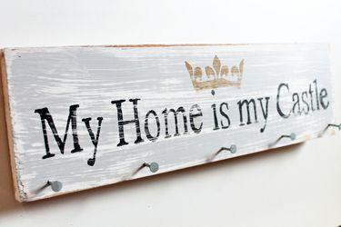 Wanddeko - Schlüsselbrett, Sabbby Stil My Home is my Castle  - ein Designerstück von Linda-Thom-Lillis-Handcraft bei DaWanda