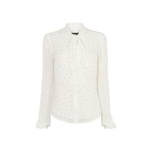 PUSSY-BOW SPARKLY BLOUSE ($165) ❤ liked on Polyvore featuring tops, blouses, tailoring blouse, white chiffon blouse, loose tops, white loose blouse and white top