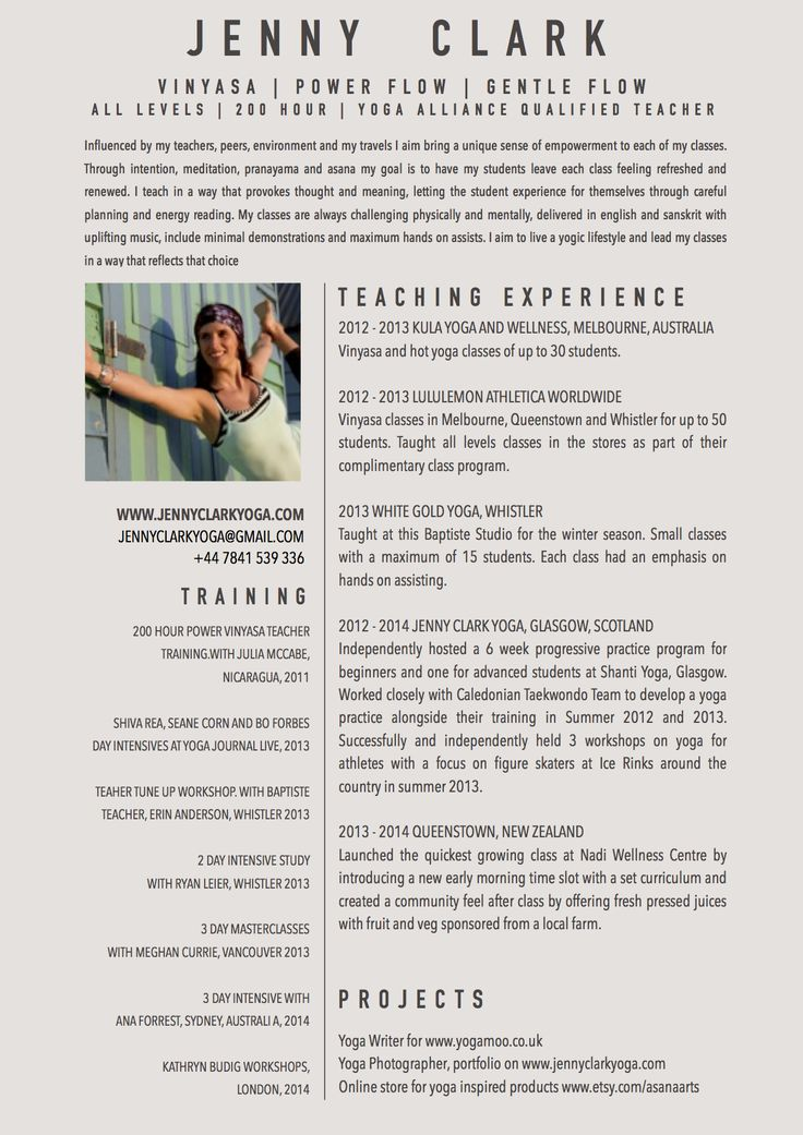 New Yoga Teacher Resume Sample Studios Pinterest