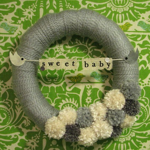 Sweet Baby Gender Neutral Nursery Wreath by AshleyElleDesigns, $30.00