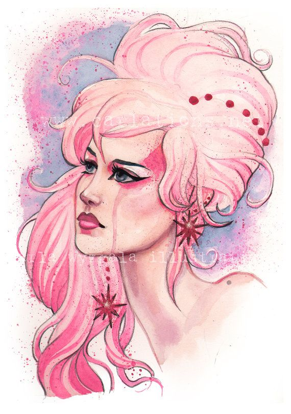 Jem and the Holograms 80's PINK inspired by carlationsart on Etsy