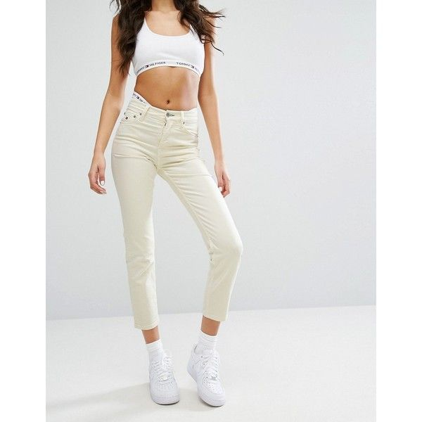 Tommy Jeans High Waist Crop Straight Leg Jean (€125) ❤ liked on Polyvore featuring jeans, yellow, tall jeans, high waisted jeans, yellow jersey, tommy hilfiger jeans and high-waisted jeans