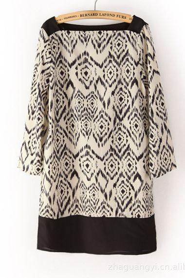 Vintage Blurred Print Chiffon Dress $21