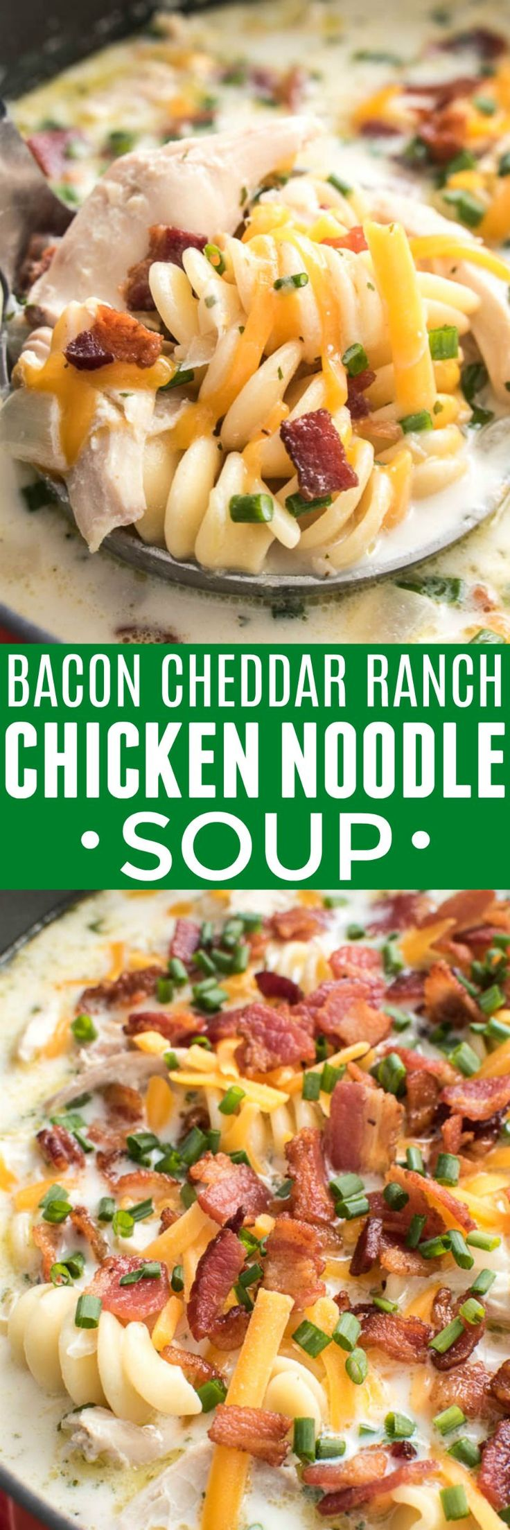 Who doesn't love homemade chicken noodle soup....especially when it's kicked up a notch!? This Bacon Cheddar Ranch Chicken Noodle Soup takes the classic recipe to a new level with the addition of cheddar cheese, ranch seasoning, chives, and...of course...bacon! Perfect for the cold months of winter and equally delicious all year round, if you love a good creamy chicken noodle soup, you'll love this recipe!