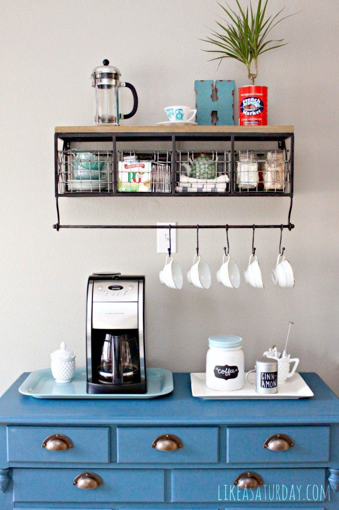 blue dresser coffee counter with mugs and coffee machine