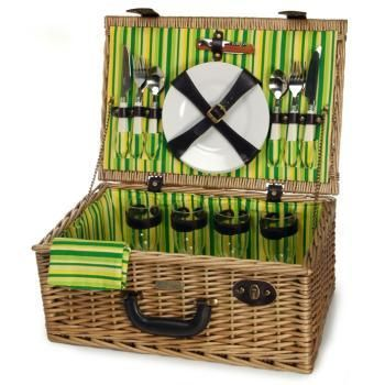 The Picnic Parlor - Willow Picnic Basket with Green Stripe Interior for 4, $119.99 (http://picnicparlor.com/willow-picnic-basket-with-green-stripe-interior-for-four/)