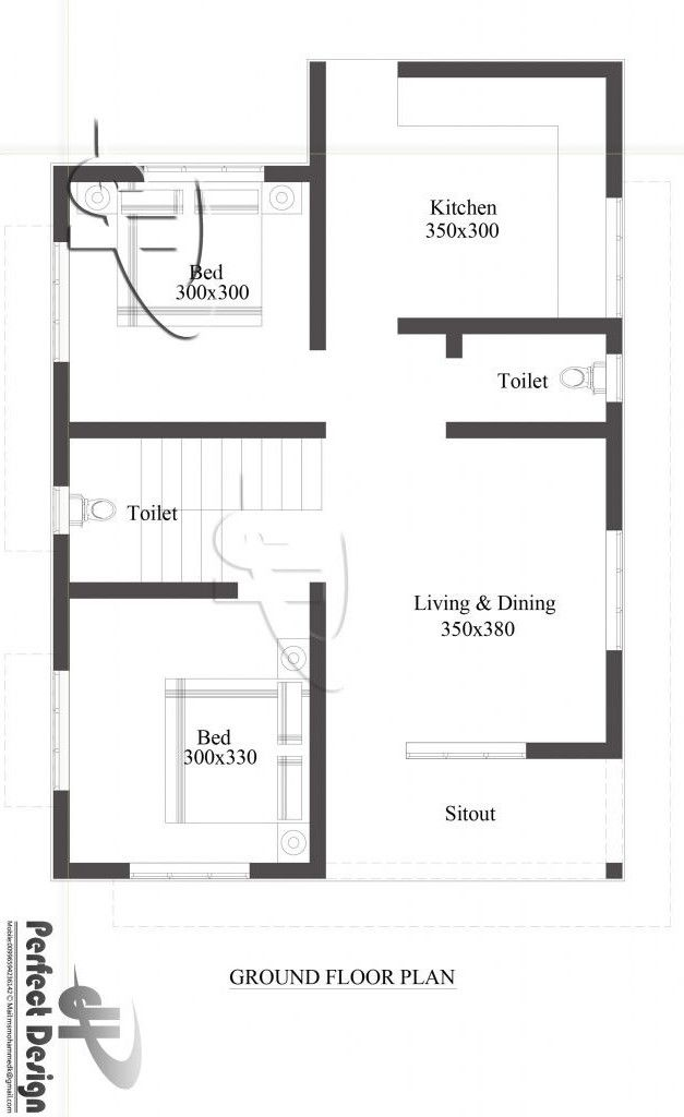 Picture Of Simple Two Bedroom Single Floor House With 68 M Area Single Floor House Design Diy House Plans Small House Design Plans