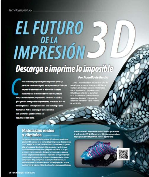 Impresoras 3D. Descarga e imprime lo imposible