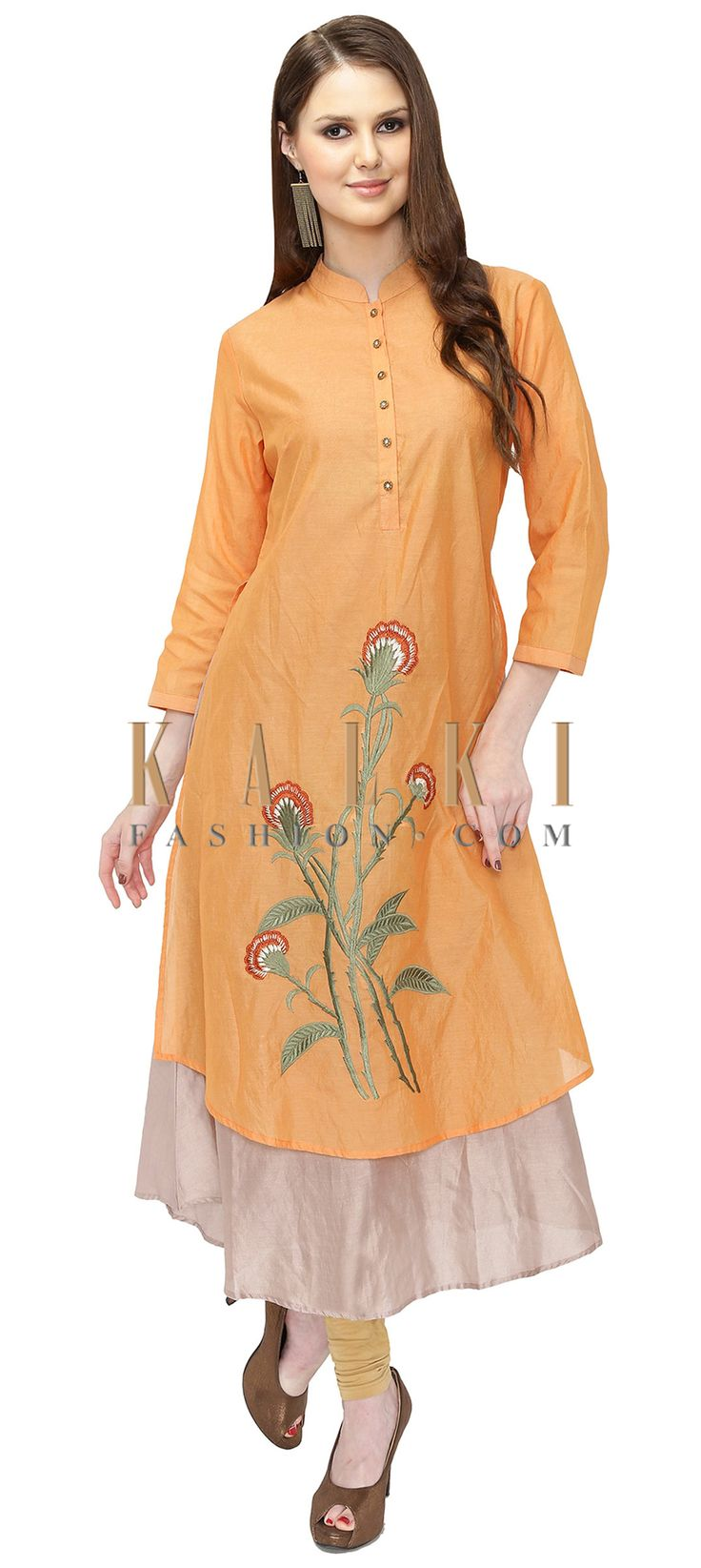 Light Orange Cream Cotton Silk Layered Kurta with Resham Embroidery only on Kalki