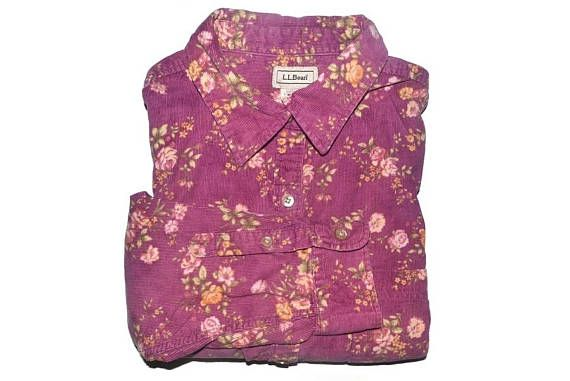 Vintage Floral Corduroy Shirt Flower Button Up Blouse Womens
