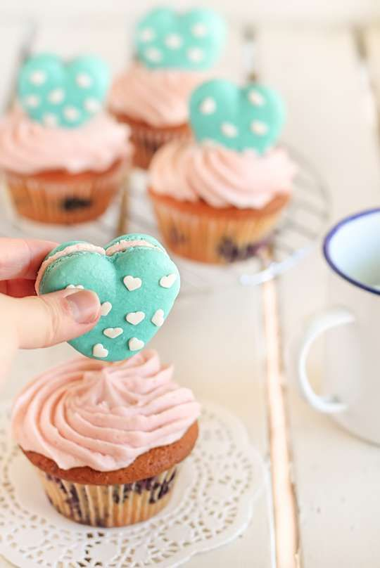 Flirty Duo Desserts -  These Heart Polka Dot Macaron Cupcakes Are Deliciously  #bake #cupcakes #baking