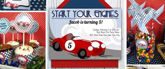 Retro Race Car 5th Birthday Party Theme Red Blue Boys