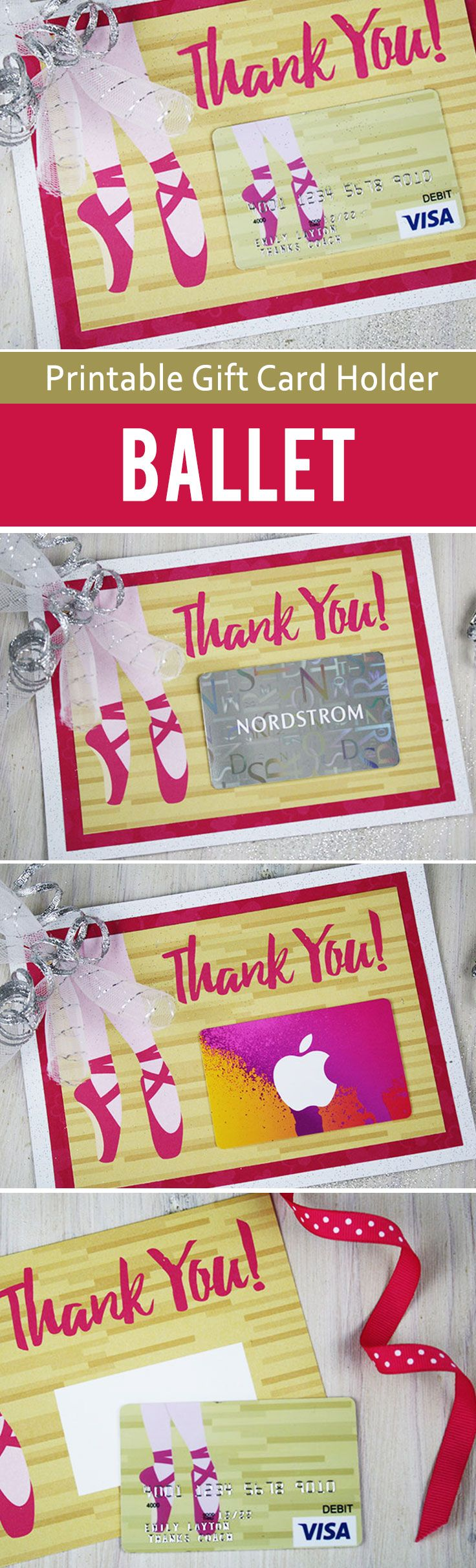 Free printable gift card holder for ballet teacher or coach. Use this cute idea to put a tutu on the gift card. Great for ballet or dance coach.