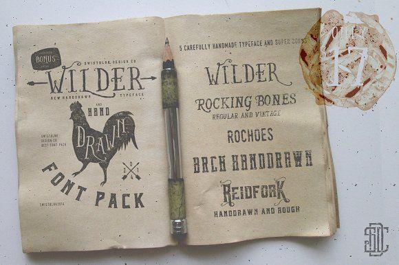 Wilder and Handdrawn Font Pack by Swistblnk Design Std. on @creativemarket