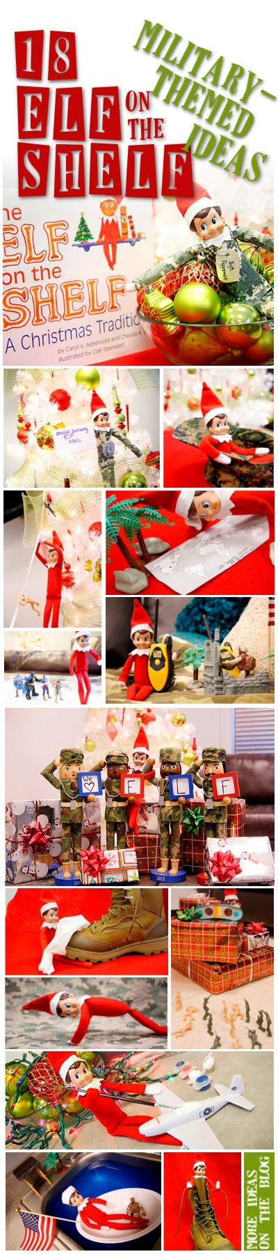 Elf on the Shelf Visits Military Families too.     Check out all our military themed Elf on the Shelf ideas on the blog!